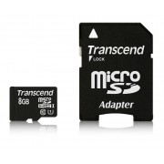 Micro SD Card, 8GB, Transcend MICRO, Class10, 1xAdapter (TS8GUSDU1)