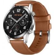 Huawei Wie neu: Huawei Watch GT 2 46 mm silber Lederarmband braun