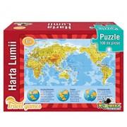 Puzzle educativ - Harta lumii, 100 piese