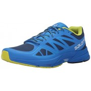 Salomon Men's Sonic Aero Running Shoe Midnight Blue/Bright Blue/Gecko Green 11 D(M) US