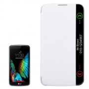 For LG K10 Solid Color Smooth Surface Horizontal Flip Leather Case with Caller ID Display Function(White)