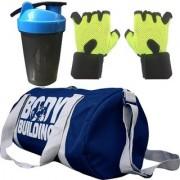 CP Bigbasket Combo Set Polyester 40 Ltrs Black Sport Gym Duffle Bag Gym Shaker (400 ml) Gym Fitness Gloves (Green)