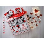 Lenjerie de pat 2 persoane Tac Disney Minnie and Mickey dotty love 100 bumbac ranforce 4 piese