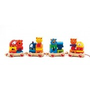 Djeco / Crearoule 35-Piece Wooden Stacking Block and Train Set
