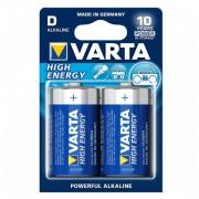 Alkáli Elem Varta LR20 D 1,5 V 16500 mAh High Energy (2 pcs) Kék