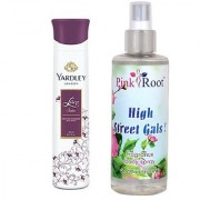 Yardley Lace Satin Perfumed Deodorant Body Spray 150ml and Pink Root High Street Gals Fragrance body Spray 200ml Pack of 2