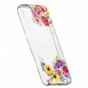 Husa Silicon Transparent Slim Flower Apple iPhone 5 5S SE