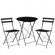 [casa.pro] Set bistro (mesa + 2 sillas) juego de muebles de jardín, balcón - negro