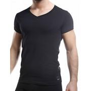 Cut For Men C4M Solid V Neck Short Sleeved T Shirt Black C4M07