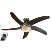 Casafan ceiling fan, quiet design 132 Cm Brushed chrome Wenge color blades with lamp, CASAFAN Elica BN-WN