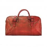 Borsa da viaggio serafino in pelle invecchiata rosso chiaro made in italy produzione di pelletteria toscana