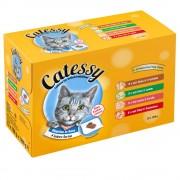 96x100g Catessy falatok aszpikban nedves macskatáp vegyes csomagban 4 különböző fajtával