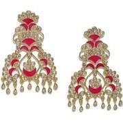 Rubans Gold Toned Enamel Handpainted Kundan Chandelier Earrings