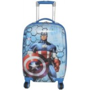 Texas USA 22 inch CAPTAIN AMERICAN Printed Polycarbonate 4 wheel Kids Trolley Bag Expandable Cabin Luggage - 22 inch(Multicolor)
