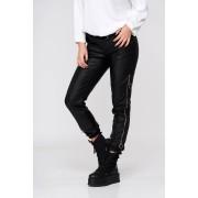 Pantaloni SunShine din piele ecologica negri casual cu talie inalta si cu aplicatii metalice