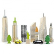 Wonderworld Innovative Wooden City Skyline Glow Block Set - Unique Toy Glows In The Dark - Realistic Skyline
