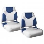 Капитански седалки за моторна лодка или яхта [pro.tec]® , 425 x 410 x 500mm, Син/Бял