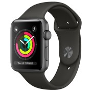 Smartwatch Apple Watch Series 3 GPS, 38mm, Carcasa din aluminiu gri si bratara Sport neagra