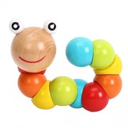Imported Multi-color Wooden Twisty Worm Caterpillar Baby Kids Toy