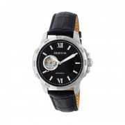 Heritor Automatic Bonavento Semi-Skeleton Leather-Band Watch - Silver/Black HERHR5602