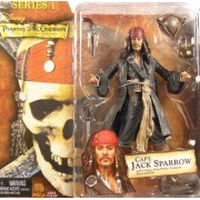 NECA Pirates of the Caribbean Captain Jack Sparrow Figure Series 1 With Compass Rum Bottle Pistol Hat