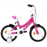 """vidaXL Bicicleta de criança roda 14"""" preto e rosa"""