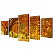 vidaXL Canvas Wall Print Set Maple 200 x 100 cm