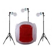 Zestaw oświetleniowy bezcieniowy - 3x800W + namiot 120cm + 3x statyw 230cm