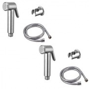 Mily jaquar Health faucet (abs) with 1mtr flexible SS Tube and Wall Hook - Set of 2