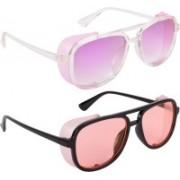 NuVew Wayfarer, Shield Sunglasses(Orange, Violet)