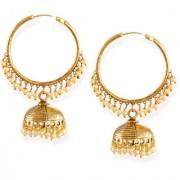 Zaveri Pearls Gold-Toned Ethnic Chandbali With Jhumki & Pearl Drops Earring-ZPFK6629