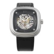【75%OFF】Nero Watch スクエア スケルトン レザーベルト ウォッチ ブラック ファッション > 腕時計~~メンズ 腕時計