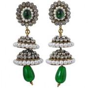 Maayra Double Victorian Jhumka Earrings Green Jhumki Wedding Festival Jewellery