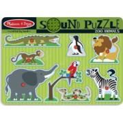 Melissa and Doug - Puzzle de lemn cu sunete Animale de la Zoo