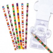 Baker Ross Christmas Character Kids Pencils - 12 Funny Wooden Pencils. Fun Pencils For School. Kids Stocking Fillers. Size 18cm.