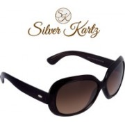 Silver Kartz Over-sized, Oval Sunglasses(For Girls)