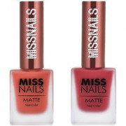 Miss Nails Orange Boom Scarlet Red Matte Series nail Polish combo pack 10 ml each