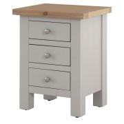 Harperley Light Grey 3 Drawer Bedside Cabinet Fully Assembled
