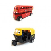 Combo Toys of Double Decker Bus (Mini, Small Size) and Auto Rickshaw Toy for kids   Pull back and Go   Red and Black Color   Set of 2 Toys