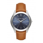 MICHAEL Michael Kors Mens Slim Runway Leather Strap Watch 44mm STAINLESS-NAVY AND BROWN