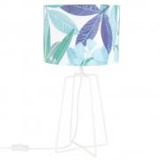 Maisons du Monde Lámpara de metal blanco y pantalla blanca con estampado con motivos vegetales