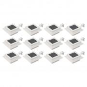 vidaXL Градински соларни лампи, 12 бр, LED, квадратни, 12 см, бели