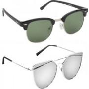 Elgator Over-sized Sunglasses(Green, Silver)