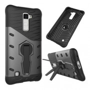 For LG K10 Shock-Resistant 360 Degree Spin Tough Armor TPU+PC Combination Case(Grey)