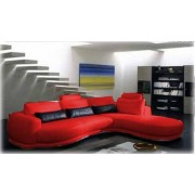 items-france ALL TIME - Canape contemporain d´angle cuir rouge 5 places 290x190x108