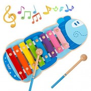Wooden Xylophone colorful caterpillar ecofriendly rainbow for Kids Portable Musical Toys Instruments Set Multi-Colored Keys With Mallets