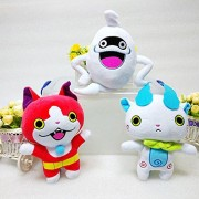 3pcs/set 20cm Anime Yo-Kai Watch Whisper Jibanyan Komasan Cat Plush Toys Yokai Watch Plush Stuffed Figure Toy Doll