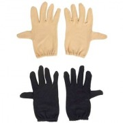 Tahiro Black N Beige Cotton Full Finger Gloves For Men- Pack Of 2