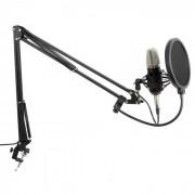 Studio Set Microfone de Membrana Grande c/Braço de Suporte, Aranha, Filtro POP, Cabo
