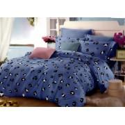 Lenjerie de pat matrimonial SUPER cu husa de perna dreptunghiulara Blue Panda bumbac mercerizat multicolor